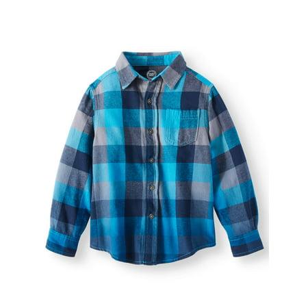 Wonder Nation Long Sleeve Flannel Shirt (Little Boys & Big Boys)