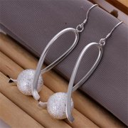 Rubique 18K White Silver Pearl Breast Cancer Support Earring