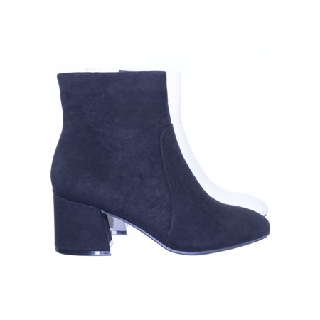 Wishlist01 by Bamboo, Plain Block Heel Ankle Bootie Pump w Side Zipper Closure