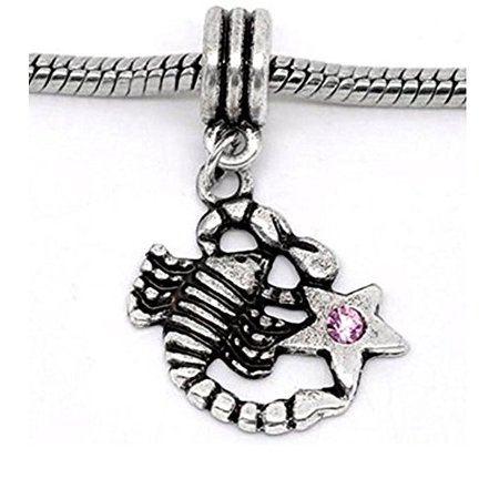 Buckets of Beads Pink Rhinestone Scorpio Zodiac Dangle Charm Fits Most Major Charm Bracelets For Women Girls