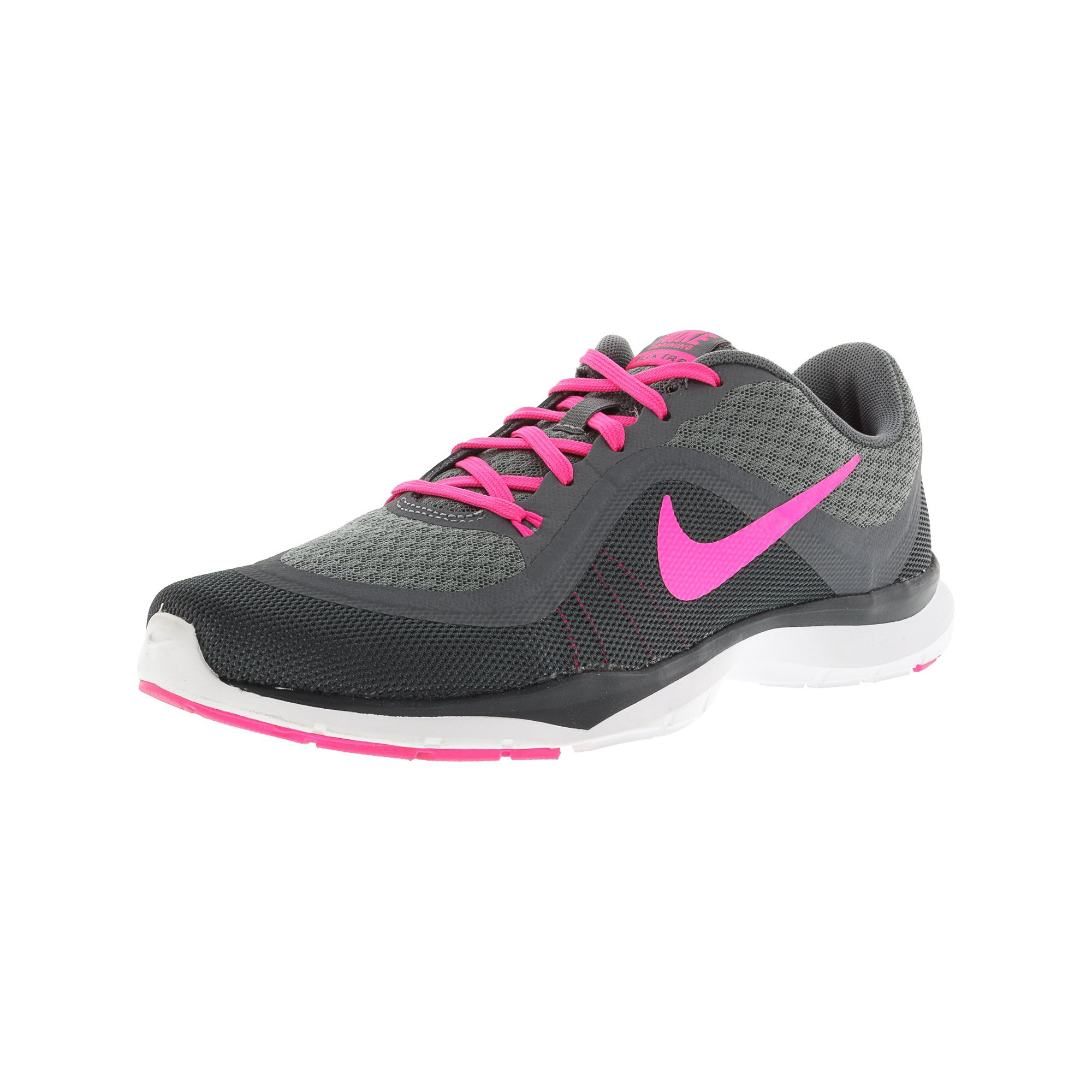 f03fd39c1007 Nike Women s Flex Trainer 6 Black   White Ankle-High Mesh Walking Shoe -  8.5M