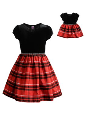 """Dollie & Me Holiday Christmas Plaid Short Sleeve Dress With Matching 18"""" Doll Set (Little Girls & Big Girls)"""