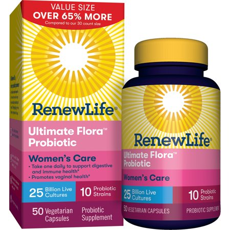 Renew Life - Ultimate Flora Probiotic Women's Care - 25 billion - 50 vegetable capsules (Flora 100 Capsule)