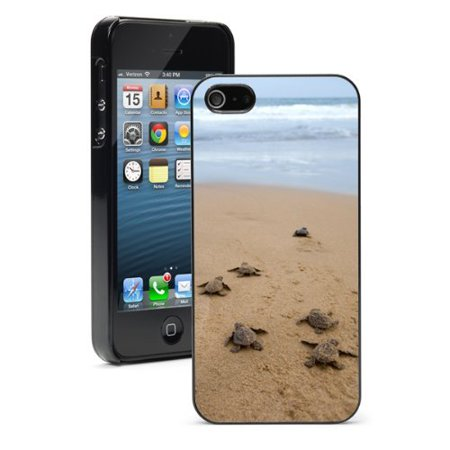 Apple iPhone (6 Plus / 6s Plus) Hard Back Case Cover Baby Turtles Going Towards Ocean (Black)](Go Plus)