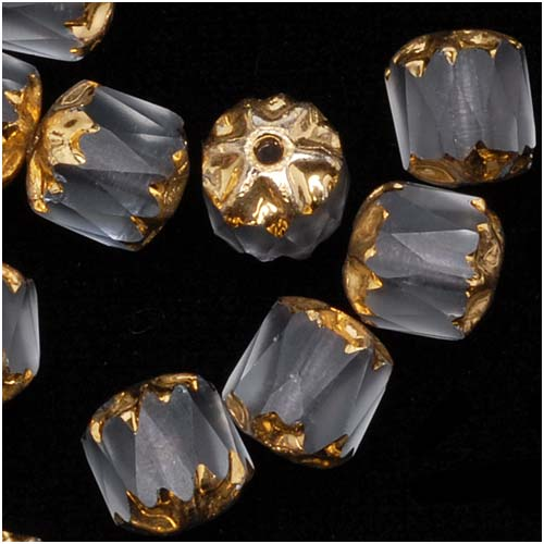 Czech Cathedral Glass Beads 6mm Matte Crystal with Gold Ends (25)