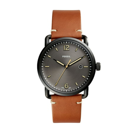 Men's Commuter Black Dial Leather Watch (Style: (Fossil Gunmetal Dial)