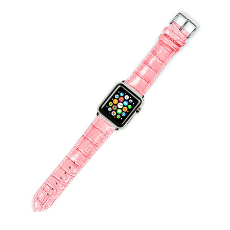 Apple Watch Strap - Crocodile Grain Watch Band - Pink - Fits 42mm Series 1 & 2 Apple Watch [Silver (Crocodile Wrist Watch Strap Band)