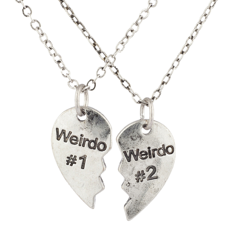 Lux Accessories Silvertone Weirdo 1 2 BFF Best Friends Heart Charm Necklaces 2PC