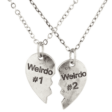 Lux Accessories Silvertone Weirdo 1 2 BFF Best Friends Heart Charm Necklaces