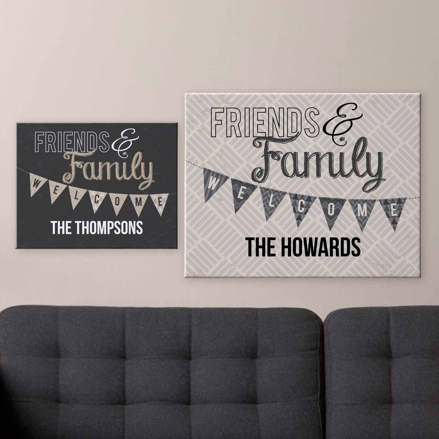 Personalized Welcome Flag Canvas, Tan, 16x20