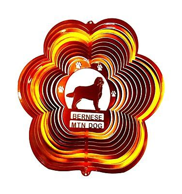 Stainless Steel Bernese Mountain Dog 12 Inch Wind Spinner, Copper Chimes Hang by