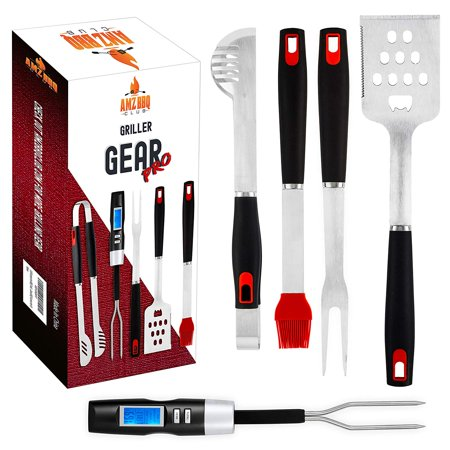 ULTIMATE BBQ Grill Tools Set with Meat Thermometer & 4 Stainless Steel Grilling Accessories - 5 Piece BBQ Accessories set includes Tongs, Spatula, Fork, Silicon Basting Brush and Instant Read Digital ()