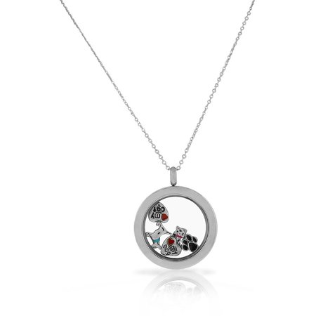 - Stainless Steel Silver-Tone Pet Animal Cat Dog Locket Pendant Necklace - Charms Included