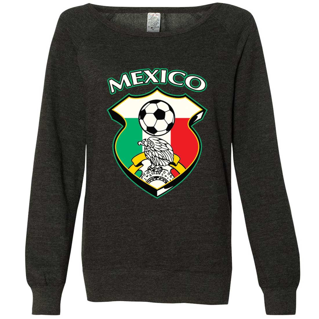 Mexico Soccer Coat of Arms Futbol Team Ladies Lightweight Fitted Crewneck