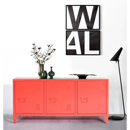 HOMYCASA Metal Cabinet Locker 3 Door Office Filing Cablint Organizer Living Room TV Stand Red