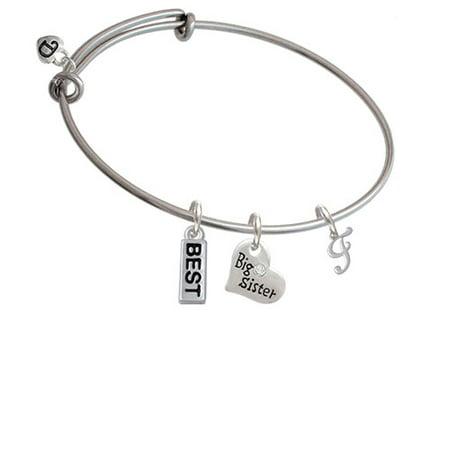 Mini Gelato Script Initial   F   Big Sister Heart Expandable Bangle Bracelet