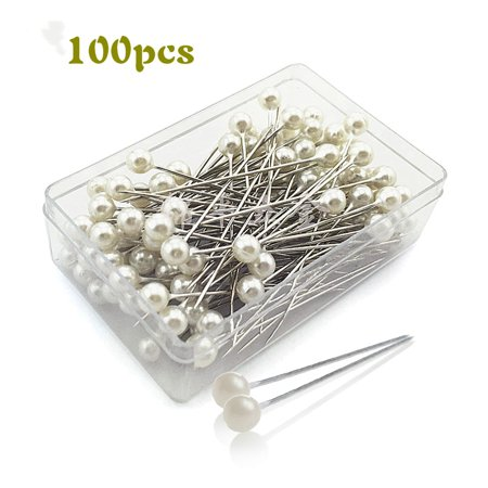 Pearlized Ball Head Straight Pins Pear Head Pins for DIY Sewing Crafts 100pcs (Pearl White)](Pins For Sale)