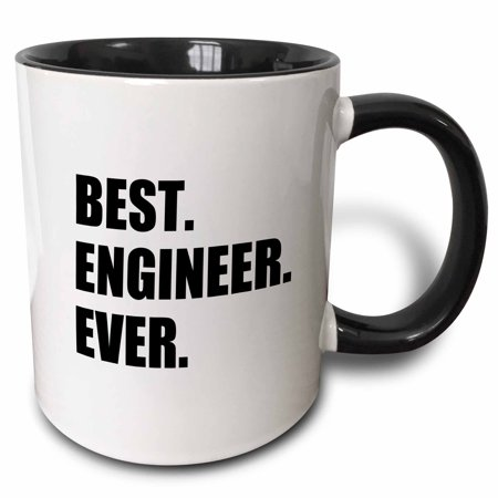 3dRose Best Engineer Ever - fun gift for engineering job - black text, Two Tone Black Mug,