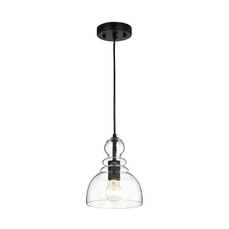 Nefelt Matte Black 1-Light Decanter Seeded Glass (Tiffany Outlet Stores Location)