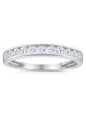 1/2ctw Diamond Channel Wedding Band in 10k White Gold
