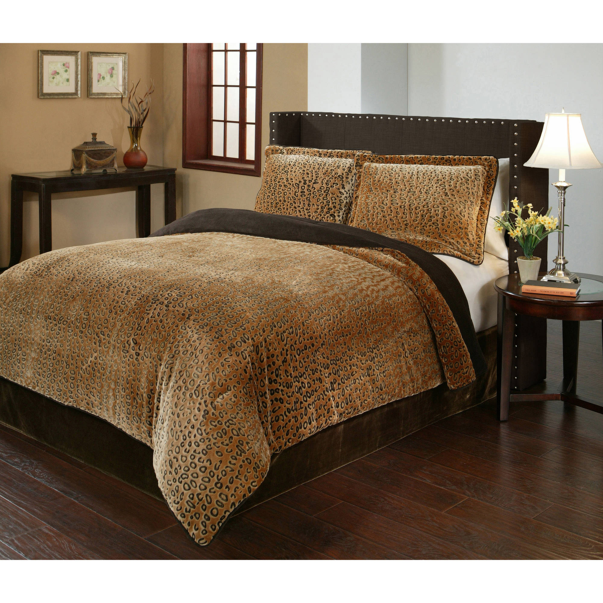 Cheetah Velvet Plush Print Bedding Comforter Mini Set