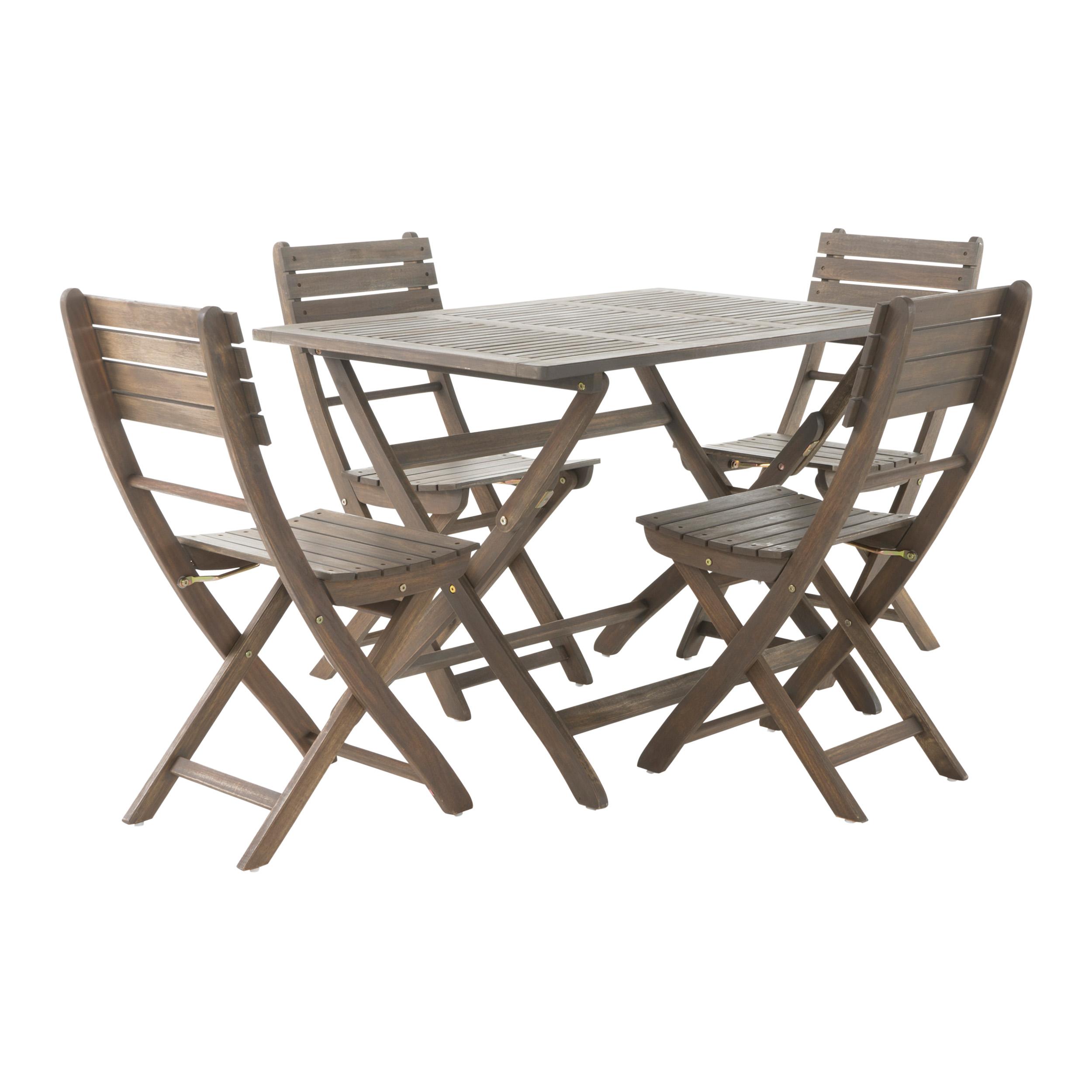 Vicaro Outdoor Acacia Wood Foldable Dining Set, Grey Finish