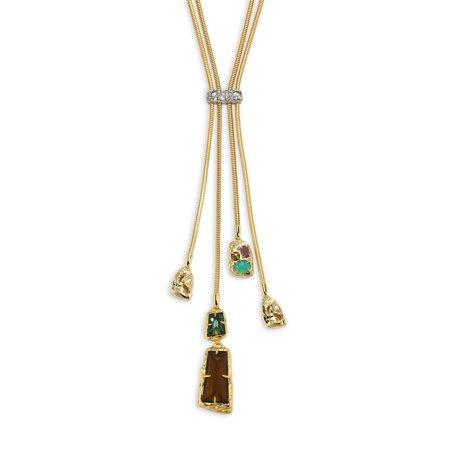 - Semi Precious Multi Stone Lariat Necklace