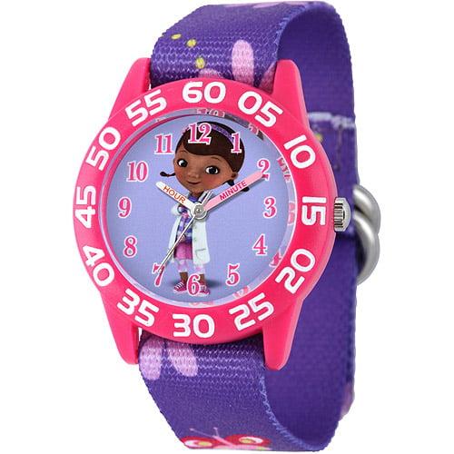 Disney Doc McStuffins Girls' Plastic Case Watch, Purple Stretch Nylon Strap