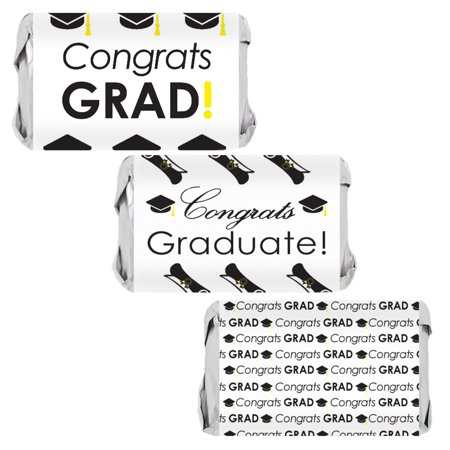Tiki Bar Party Supplies (Graduation Party Candy Wrappers, 45 Count - Congrats Grad Black and White Party Decorations for Mini Candy Bars Graduation Party Favors Supplies - 45 Count)