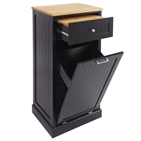 Microwave Kitchen Cart with Hideaway Trash Can Holder in Black