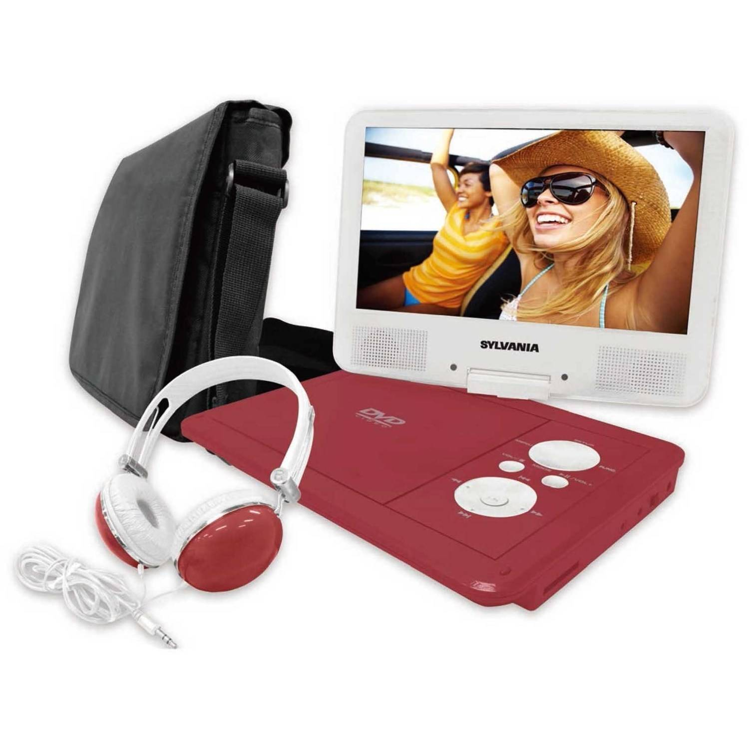 "Sylvania 9"" swivel screen portable dvd player with deluxe carry bag and matching headphones"