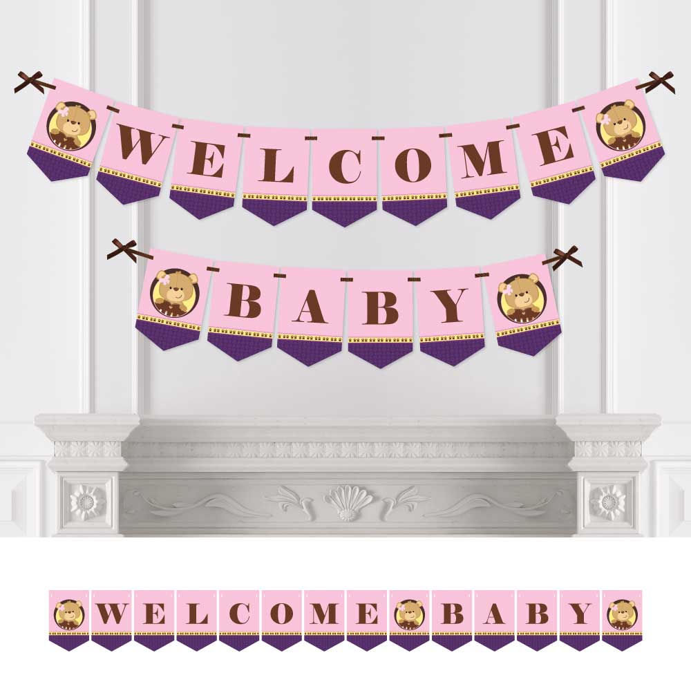 Baby Girl Teddy Bear - Baby Shower Bunting Banner - Pink Party Decorations - Welcome Baby