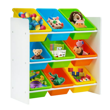 Toy Organizer Storage Organize Kids With 9 Plastic Colorful Bins Children Bedroom Playroom