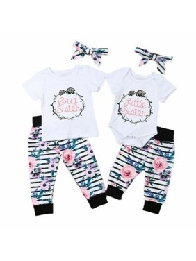Baby Girl Big Little Sister Short Sleeves Tops + Floral Pant Summer Outfits Kids clothes set