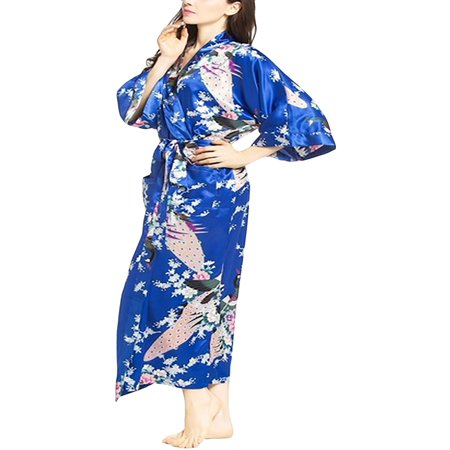 Elegant Long Floral Silk Kimono Womens Robe, Sizes 2 to 20, Brides and Bridesmaid Robes, Lightweight Robe