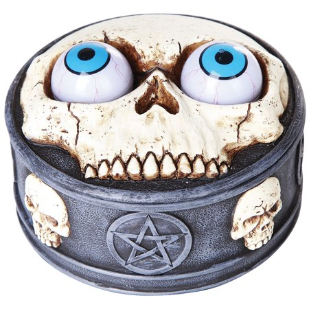 Skull Box With Rolling Eye Balls - Cold Cast Resin Handpainted Scary Details