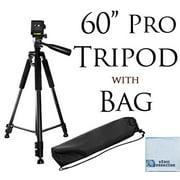 "60"" pro series professional camera tripod for canon, nikon, sony, samsung, olympus, panasonic & pentax + ecostconnection microfiber cloth"