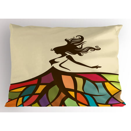 Youth Pillow Sham Drawing of a Young Woman Figure with a Puffy Colorful Artistic Skirt Fashion Theme, Decorative Standard Queen Size Printed Pillowcase, 30 X 20 Inches, Multicolor, by Ambesonne - Poofy Skirt