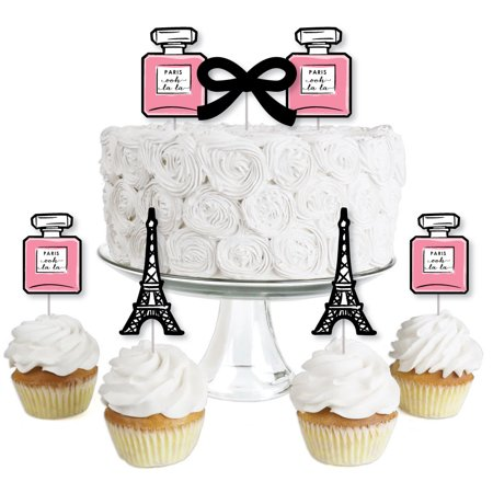 Paris Ooh La La - Dessert Cupcake Toppers - Baby Shower or Birthday Party Clear Treat Picks - Set of 24 (Birthday Paris Theme)