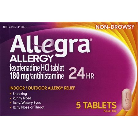 Allegra 24 Hour Non Drowsy Indoor And Outdoor Allergy Relief Tablets 5Ct
