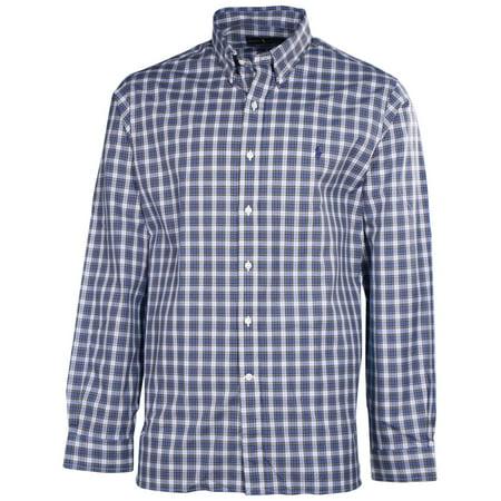 Men 39 s plaid button down shirt navy blue for Navy blue plaid shirt