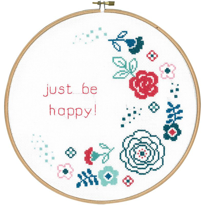 """Modern Flowers Be Happy On Aida Counted Cross Stitch Kit-9.6"""" Round 14 Count"""
