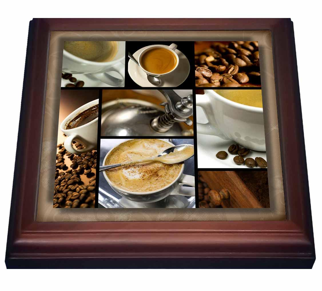 3dRose Coffee Themed Collage, Trivet with Ceramic Tile, 8 by 8-inch