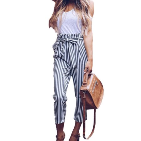 28d03a070 Womens High Waist Paperbag Cigaratte Trousers Striped Summer Casual Long  Pants - Walmart.com