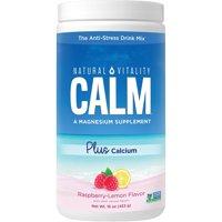 Natural Vitality Calm Anti-Stress Drink Mix, Magnesium Plus Calcium Supplement, Raspberry-Lemon, 16 Oz