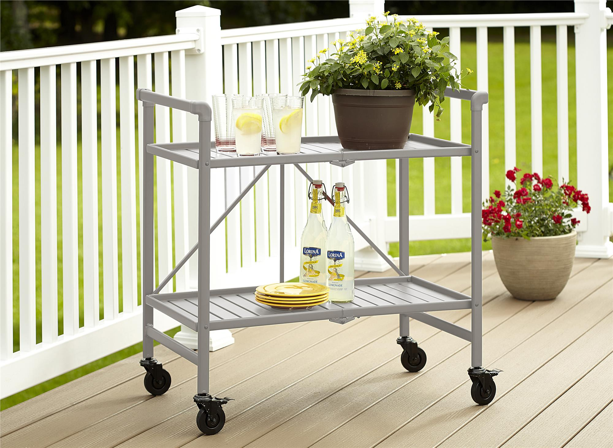 COSCO Outdoor Living SMARTFOLD Outdoor Or Indoor Folding Serving Cart, Multiple Colors by Cosco