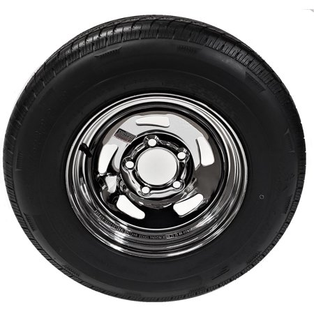 2-Pack Radial Trailer Tire Rim ST205/75R15 Load D 5-4.5 Directional Chrome Chrome Rims And Tires