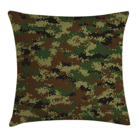 Camo Throw Pillow Cushion Cover, Grunge Graphic Camouflage Summer Theme Armed Forces Uniform Inspired Dark, Decorative Square Accent Pillow Case, 18 X 18 Inches, Green Pale Green Brown, by