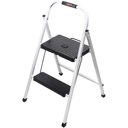 Rubbermaid Folding 2-Step Lightweight Steel Frame Stool with Hand Grip and Plastic Steps, 200-Pound Capacity, White