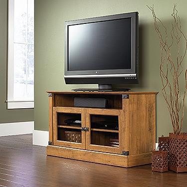 Sauder Registry Row Panel Tv Stand In Amber Pine Walmart Com